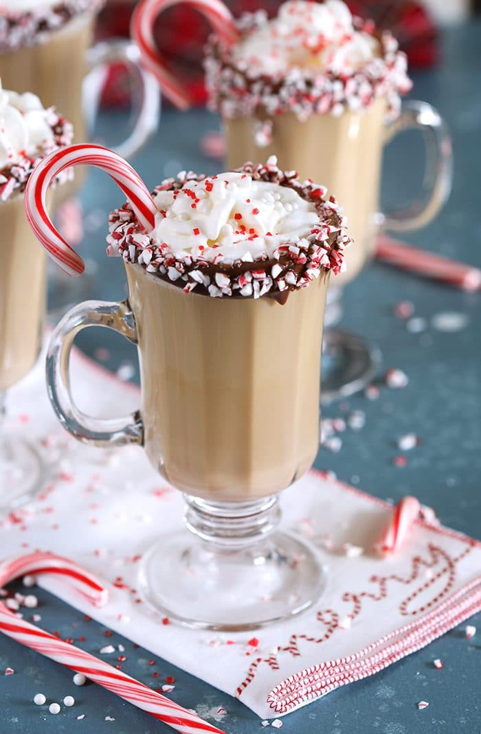 Spiked Peppermint Mocha on a white napkin that says Merry.
