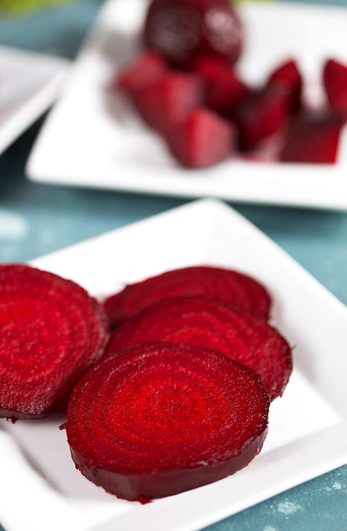 Oven Roasted Beets on a white Square plate.