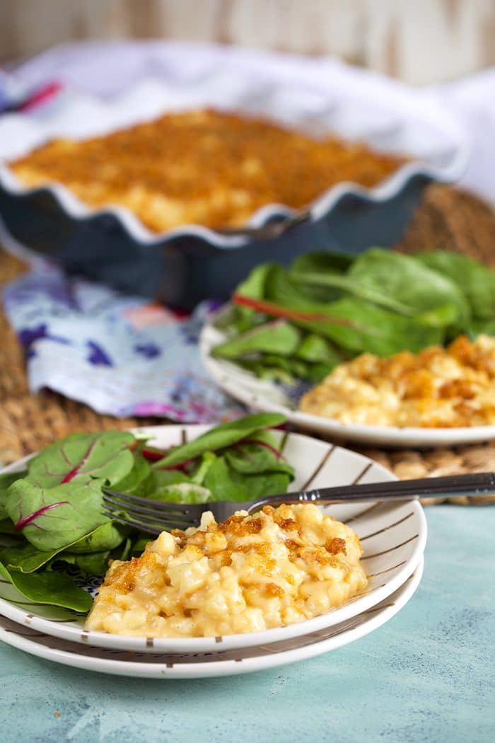 Crispy cheesy Baked Cauliflower Mac and Cheese on a white plate with salad and a gold fork.