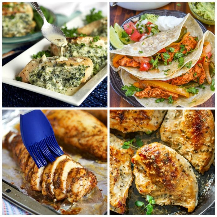 Collage of four oven baked chicken breast recipes, Oven Baked Chicken Breast  with a blue