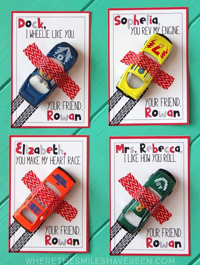 Race Car Kids Valentine Cards for school.