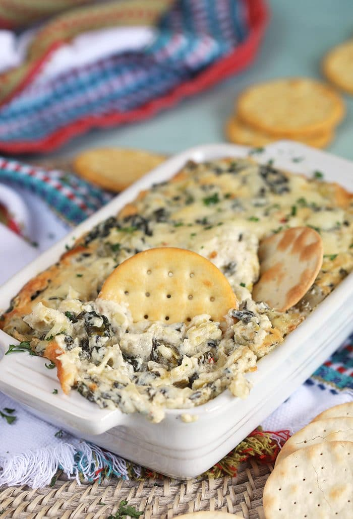 Hot Spinach Artichoke Dip in a white baking dish with a butter cracker dipped into the center.