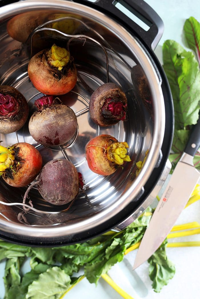 Beets in the bottom of an Instant Pot.