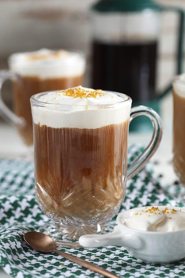 Nutty Irishman recipe in a glass coffee mug.