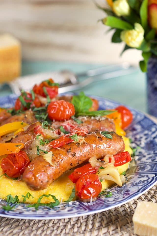 Crock Pot Sausage and Peppers with Parmesan Basil Polenta