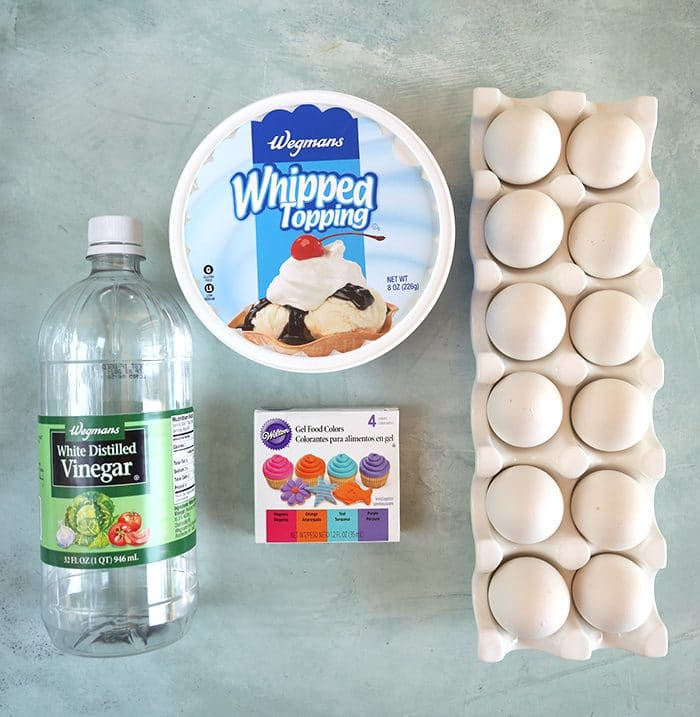 Ingredients for whipped cream dyed easter eggs...vinegar, whipped cream, eggs and food color gel.