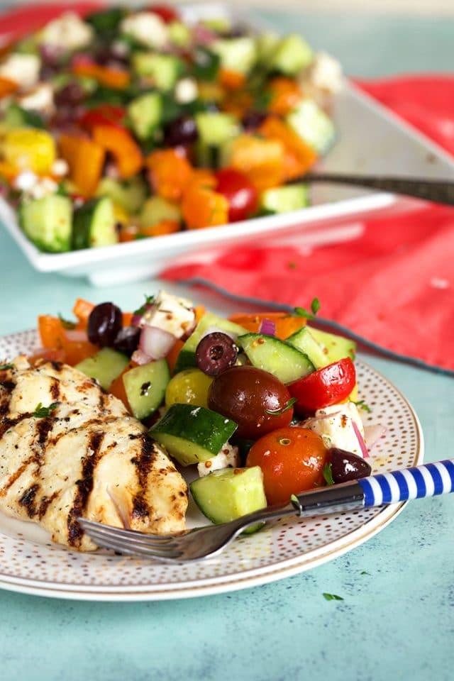 Traditional Greek Salad Recipe with Feta