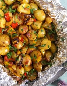 Close up of southwestern grilled potatoes in foil