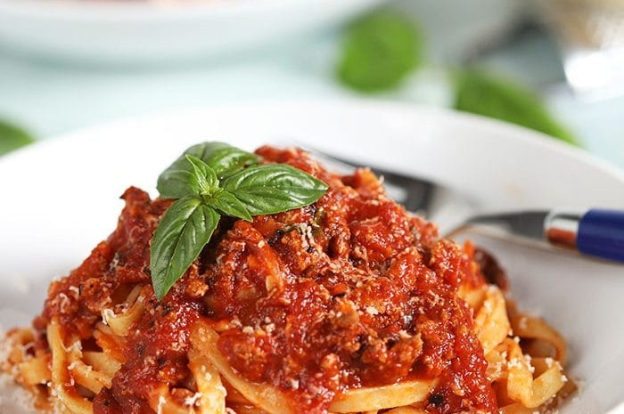 Bolognese Sauce over linguine.