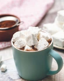 Fluffy Marshmallows in a mug of hot cocoa.