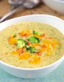 Broccoli Cheddar Soup in a white bowl.