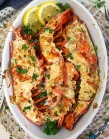 Overhead shot of Lobster Thermidor in a white baking dish.